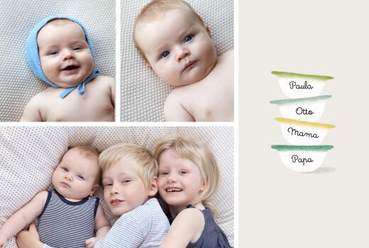 Geburtskarten Schälchen (2 kinder) grün