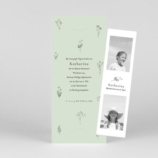 Einladungskarten Kommunion & Konfirmation Floral minimal (fotostreifen) grün - Ansicht 1