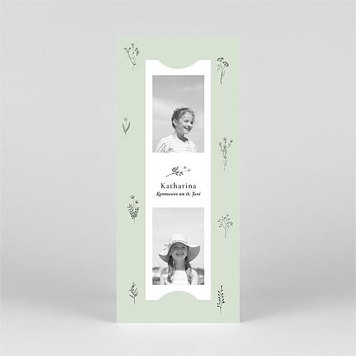 Einladungskarten Kommunion & Konfirmation Floral minimal (fotostreifen) grün - Ansicht 2