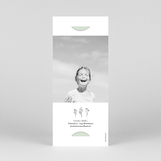 Einladungskarten Kommunion & Konfirmation Floral minimal (fotostreifen) grün - Ansicht 4