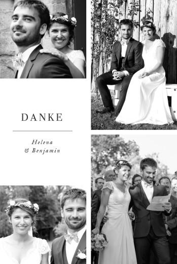 Dankeskarten Hochzeit Sweet moments (hoch) weiß