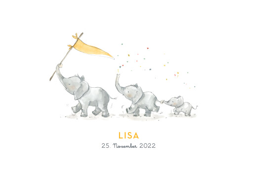 Geburtskarten 3 elefanten gelb