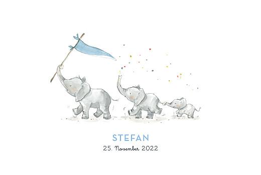 Geburtskarten 3 elefanten blau