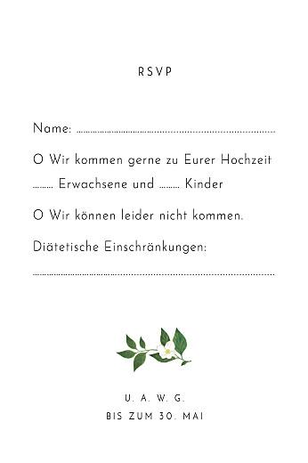 Antwortkarte Hochzeit Blumenbuchstaben (hoch) weiß - Seite 2