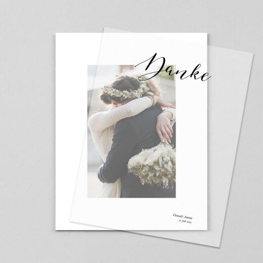 Dankeskarten Hochzeit Raffiniert (transparentpapier) weiß - Ansicht 1