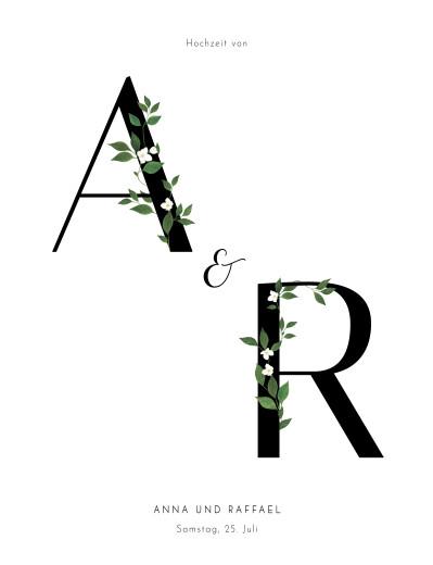 Hochzeitseinladungen Blumenbuchstaben (hoch) weiß