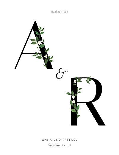Hochzeitseinladungen Blumenbuchstaben (hoch) weiß finition