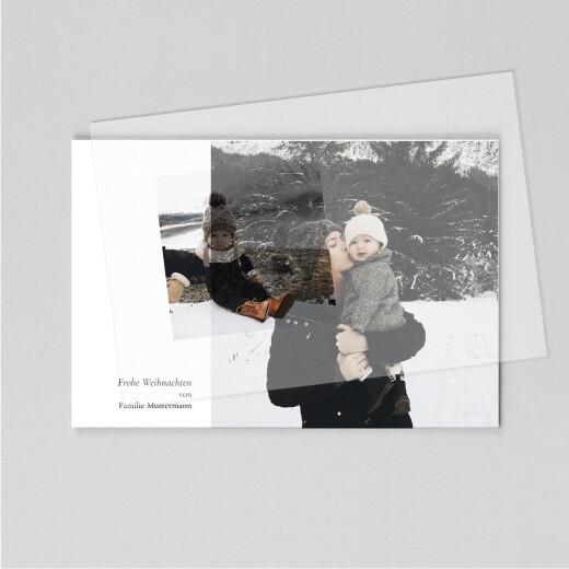 Weihnachtskarten Dezent (transparentpapier) lang weiß - Ansicht 1