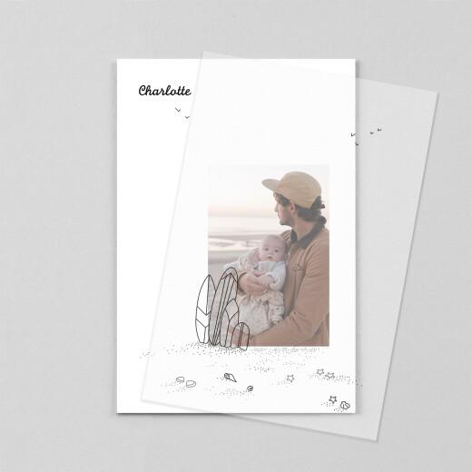Geburtskarten Strandtag transparentpapier (2 kinder) schwarz - Ansicht 1