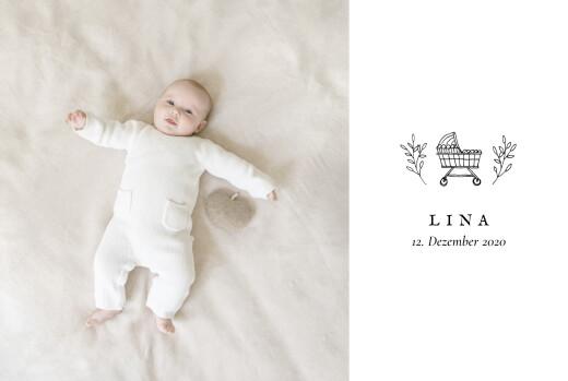 Geburtskarten Gravur (lang) weiß