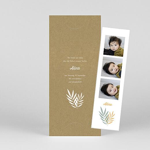 Geburtskarten Palmenzweige (fotostreifen) gelb - Ansicht 1