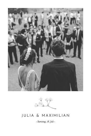 Dankeskarten Hochzeit Botanik (hoch) beige
