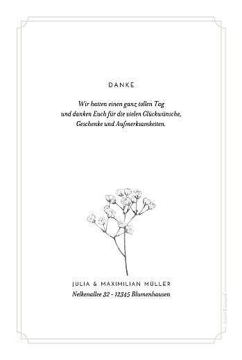 Dankeskarten Hochzeit Botanik (hoch) beige - Seite 2