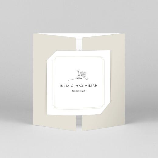 Hochzeitseinladungen Botanik (duo) beige - Ansicht 1
