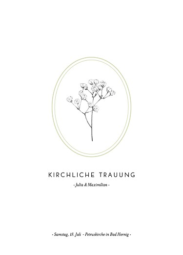 Kirchenheft Hochzeit Botanik grün