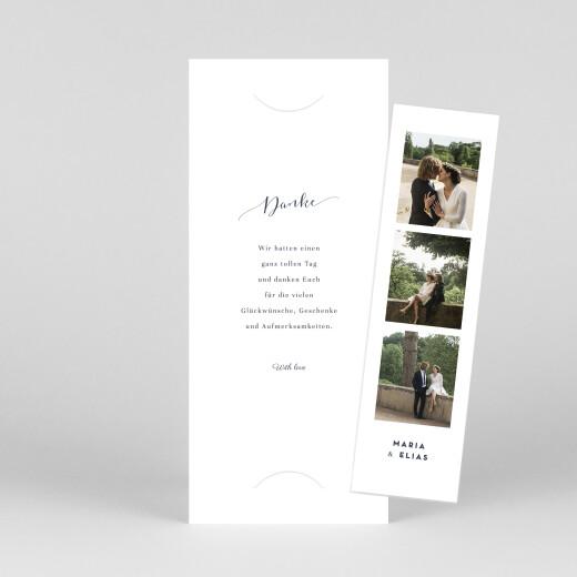 Dankeskarten Hochzeit Swing (fotostreifen) weiß - Ansicht 1