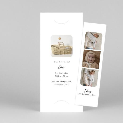 Geburtskarten Raffinesse (fotostreifen) weiß - Ansicht 1