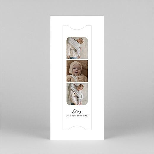 Geburtskarten Raffinesse (fotostreifen) weiß - Ansicht 2