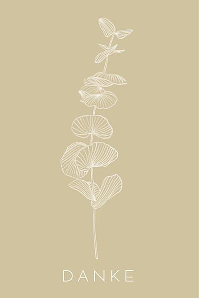 Dankeskarten Eukalyptuszweige beige finition