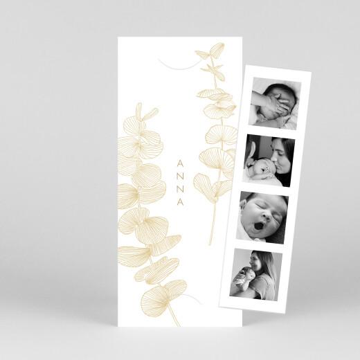 Geburtskarten Eukalyptuszweige (fotostreifen) beige - Ansicht 1