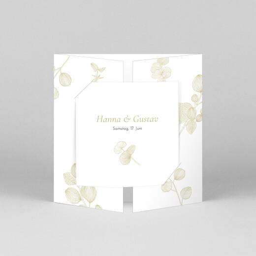 Hochzeitseinladungen Eukalyptuszweige (großes duo) beige - Ansicht 1
