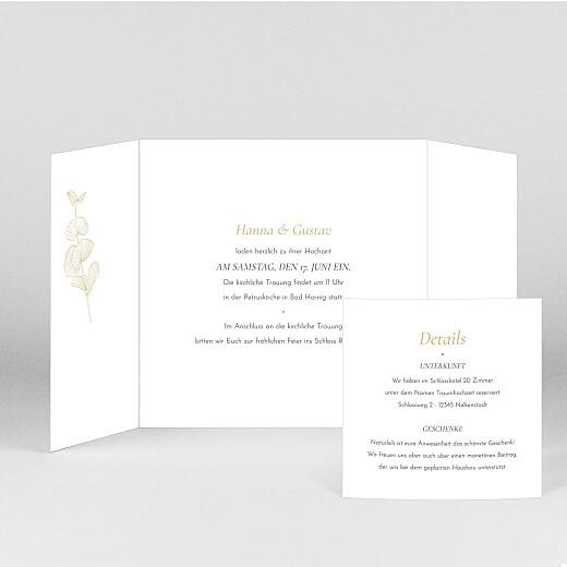 Hochzeitseinladungen Eukalyptuszweige (großes duo) beige - Ansicht 2