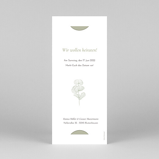 Save-the-Date Karten Eukalyptuszweige (fotostreifen) grün - Ansicht 4