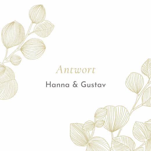 Antwortkarte Hochzeit Eukalyptuszweige beige