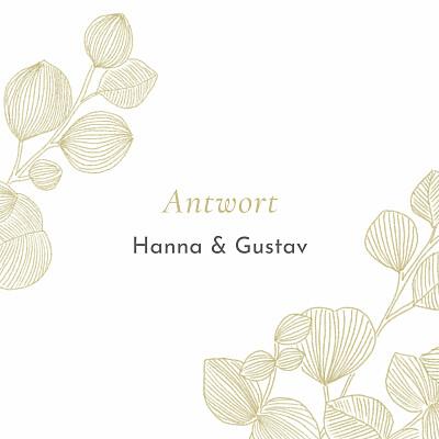 Antwortkarte Hochzeit Eukalyptuszweige beige finition