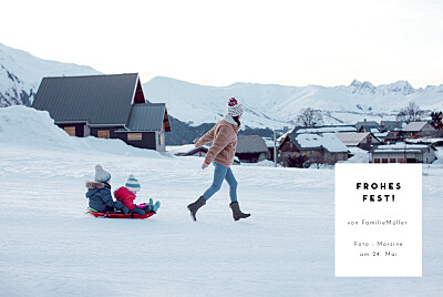 Weihnachtskarten Kartusche (lang) weiß finition