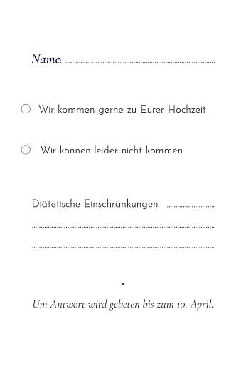 Antwortkarte Hochzeit Eukalyptuszweige hoch blau - Seite 2