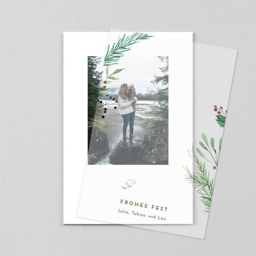 Weihnachtskarten Weihnachtsbeeren (transparentpapier) weiß - Ansicht 1