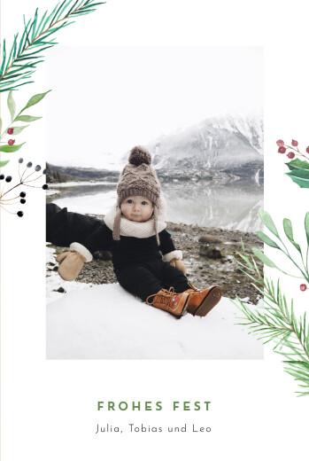 Weihnachtskarten Weihnachtsbeeren (klappkarte) grün