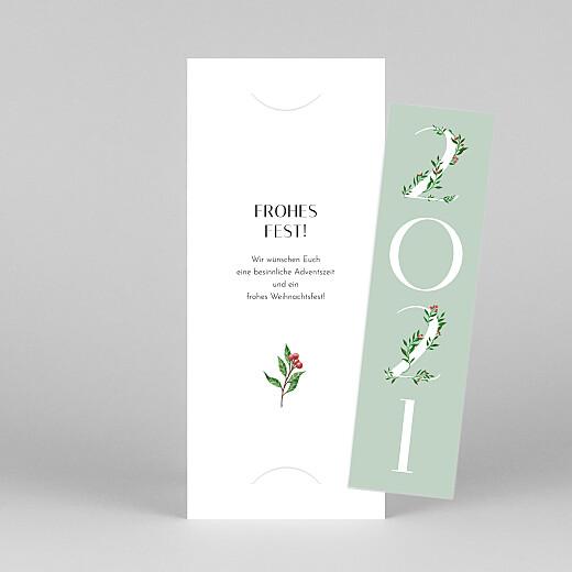 Weihnachtskarten Blumenjahr (fotostreifen) grün - Ansicht 1