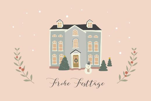 Weihnachtskarten Cottage rosa