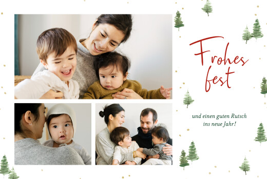 Weihnachtskarten Weihnachtswald weiß