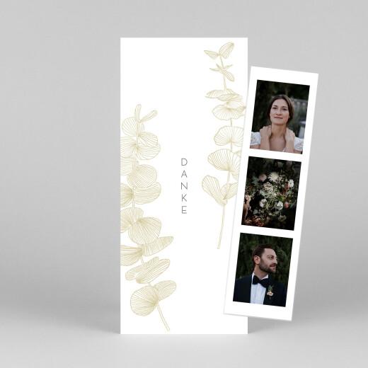 Dankeskarten Hochzeit Eukalyptuszweige (fotostreifen) beige - Ansicht 1