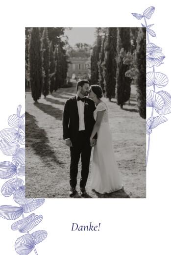 Dankeskarten Hochzeit Eukalyptuszweige blau