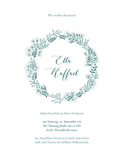 Hochzeitseinladungen Wiesenblume grün
