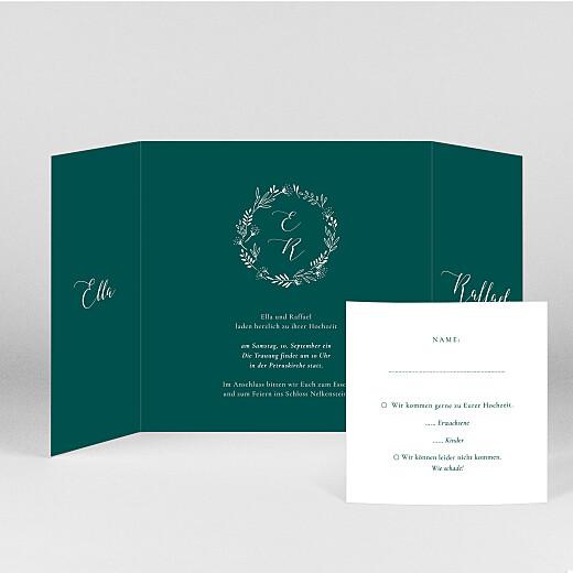 Hochzeitseinladungen Wiesenblume (duo) grün - Ansicht 2