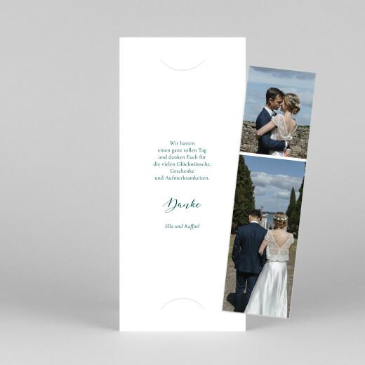 Dankeskarten Hochzeit Wiesenblume (fotostreifen) grün - Ansicht 1