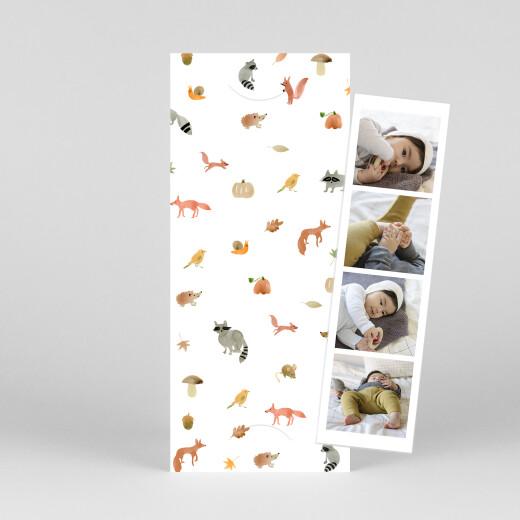 Geburtskarten Waldtiere (fotostreifen) weiß - Ansicht 1