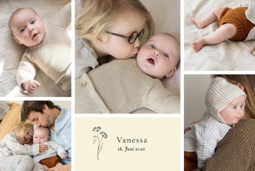 Geburtskarten Floral minimal (6 fotos) beige