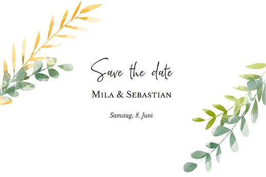 Save-the-Date Karten Flora (gold) grün