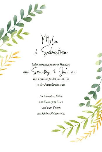 Hochzeitseinladungen Flora (gold) grün