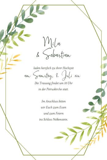 Hochzeitseinladungen Flora grün