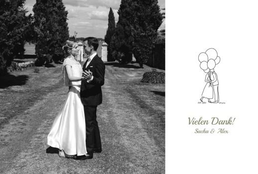 Dankeskarten Hochzeit Piktogramme weiß
