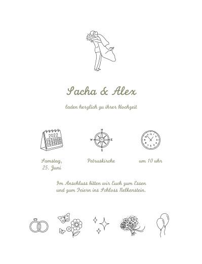 Hochzeitseinladungen Piktogramme (klassisch) weiß