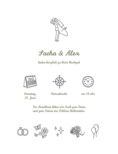 Hochzeitseinladungen Piktogramme (klassisch) weiß finition