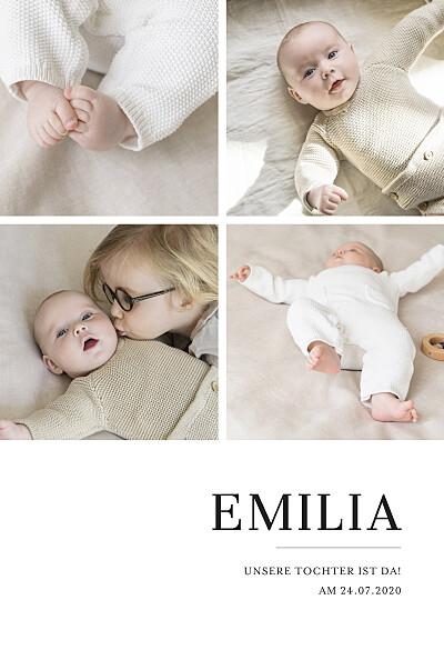 Geburtskarten Stilvoll modern 4 fotos weiß finition